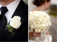 White wedding bouquet and boutonniere.  www.mikiandsonja.com