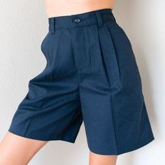 Vintage Deadstock NWT Preppy Navy Cotton Blend High Waisted Pleated Bermuda Shorts Multiple Size - High Waisted Jeans - Ideas of High Waisted Jeans shorts shorts shorts shorts outfits shorts Pleated Shorts, High Waisted Shorts, Modest Shorts, Jean Shorts, Nike Shorts, Cotton Shorts, Vintage Outfits, Vintage Shorts, Short Outfits