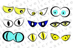 CLIPART IMAGES, Haloween eyes witches monster creepy spooky sinister wicked evil scary frightening eyes by Omorfos on Etsy