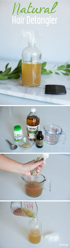 Say good-bye to tangles! This all-natural hair detangler formula is cheap and DIY friendly so you never run out. Recipe here: http://www.ehow.com/how_5231292_make-own-hair-detangling-spray.html?utm_source=pinterest.com&utm_medium=referral&utm_content=freestyle&utm_campaign=fanpage
