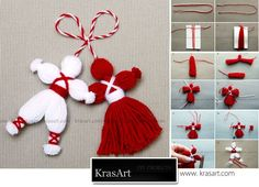 jpg Martenitsa, or Pijo and Penda, a Bulgarian tradition, celebrating the spring arrival.How do Pizho Penda?Don't Forget the Classics – Pizho and Penda; Little hanging yarn dolls Pinner wrote, my grandma actually used these as tassels on my baby Diy Home Crafts, Holiday Crafts, Christmas Crafts, Crafts For Kids, Christmas Ornaments, Christmas Tree, Pom Pom Crafts, Yarn Crafts, Crochet Crafts