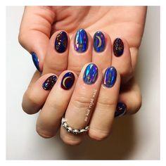 Beautiful Nail Designs and Current Nail Polish Trends: Glass Nails and Co. - Beautiful Nail Designs and Current Nail Polish Trends: Glass Nails and Co. Navy Nails, Nails & Co, Hair And Nails, Sky Blue Nails, Cute Nails, Pretty Nails, Hippie Nails, Hippie Nail Art, Star Nail Designs