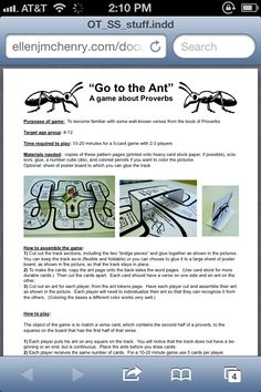 Go to the Ant -- Free printable board game about Proverbs Printable Board Games, Book Of Proverbs, Ants, Sunday School, Card Games, Free Printables, The Book, Verses, Bible