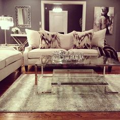 @samiriccioli's living room is made divine with our Brighton Sofa, Duplicity Coffee, Circa Tray, Luxe Crystal Table Lamp, & Zambia Throw.