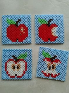 Apple coasters hama perler beads by Paula Plenty of Presents