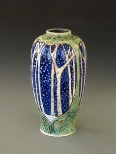 snowy birch vase carved porcelain, Stephanie Young 2013