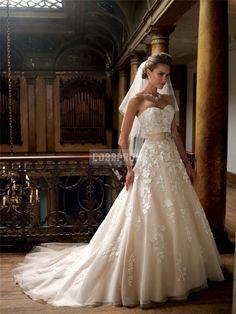 Sleeveless Chapel Train Organza,tulle Sweetheart A-line Empire Wedding Dress