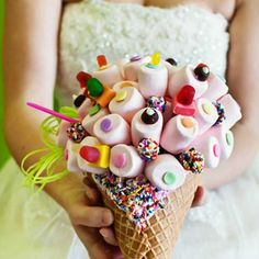 Sweet Wedding Bouquet... ice cream cone and candy inspired