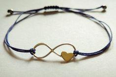 Sterling Silver Infinity Link Bracelet with Tiny Bronze Heart by Bohemicin on Etsy