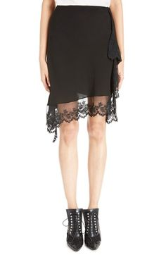 GIVENCHY Scalloped Lace & Silk Asymmetrical Skirt. #givenchy #cloth #