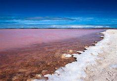 Lake Retba (Lac Rose) in Senegal. A naturally occurring pink lake!