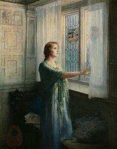 """आप यूँ फासलों से गुजरते रहे  दिल से कदमों की आवाज़ आती रही...                        ..... जाँ निसार अख़्तर  """"Awaiting his return"""",  Painting by William Ladd Taylor,  American, 1854 - 1926"""