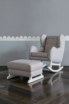 Hobbe tufted grey rocking chair nursery furniture the life creative