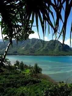 View of Kahana Bay from the Crouching Lion Hike...(Oahu, Hawaii)
