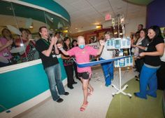 Hillary hasn't let multiple battles with cancer slow her down. While recovering from a recent bone marrow transplant, Hillary walked the distance of a marathon - 26.2 miles - in the corridors of the St. Jude Bone Marrow Transplant Unit. Congratulations Hillary!