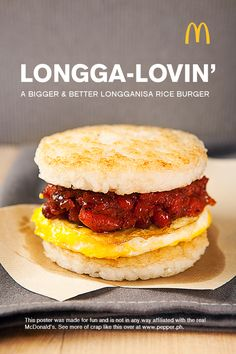 Filipinos, check this out: Longsilog breakfast sandwich!!! Just remember to add garlic to the rice patties and you are set.