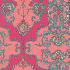 Charm Damask (7308-50) - Albany Wallpapers - A stunning damask design in bold hot pink and coral pink, with chain and charm details which co-ordinate with other designs. Please request sample for true colour match.