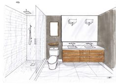 For the master ensuite I designed a floating zebrano wood double vanity that would have 7 drawers, a solid calacatta marble countertop with a tall backsplash and shower jambs to match.  The wood grain of the vanity would run horizontally to play up the contemporary lines of house.  The floor would be clad with one tile, a 12 x 24 honed calacatta, no borders, no inlays.  The beauty of this natural stone's colouration and veining is a feature on its own. The large walk-in shower will be clad…