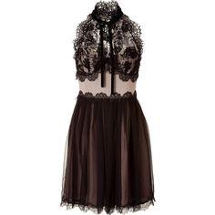 ALBERTA FERRETTI Black/Nude Silk And Lace Dress ($1,315) ❤ liked on Polyvore featuring dresses, vestidos, short dresses, vestiti, black lace cocktail dress, short black cocktail dresses, sexy cocktail dresses, nude lace dress and lace cocktail dress