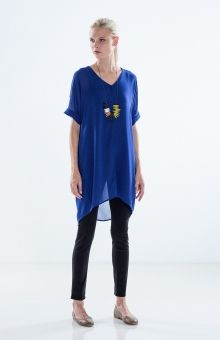 Elk | Sheer Tunic Dress in Royal Blue | Ideal for layering