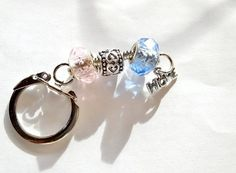 Pink and Blue Keychain Key Ring for Infant by BlingItOutLoudCharms