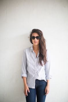 casual half-tucked blouse