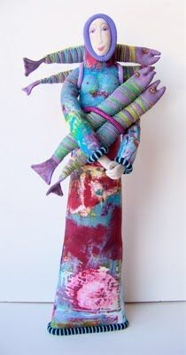 Art Dolls & Textiles by Jennifer Gould: Pisces Woman 17: Holding Striped Fish, 2010
