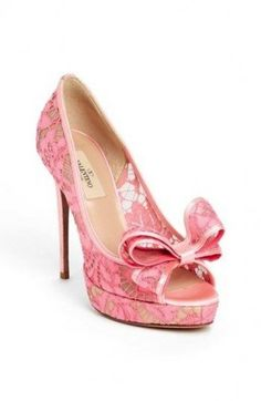 Pumps open toe in pizzo rosa Valentino
