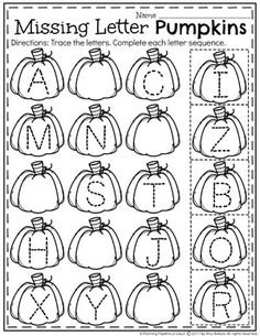Preschool Letter Worksheets for October with letter tracing.
