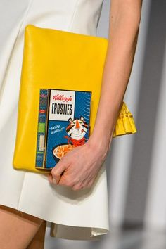 Anya Hindmarch will release cereal box clutches in the fall. Photo by Getty Images Anya Hindmarch, Book Clutch, Harper's Bazaar, Love At First Sight, Fashion Bags, Uk Fashion, High Fashion, Fashion Trends, Her Style