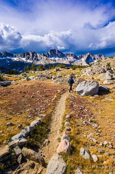 Hiker on the Bishop Pass trail in Dusy Basin, Kings Canyon National Park, California USA / Click image to view hi-res, purchase a print or license.
