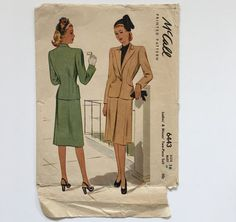 ✂️Vintage 1940s McCall Printed Pattern #6443 Ladies & Misses Two-Piece Suit  The tailored jacket is dart-fitted with lapped hip patch pockets, notched lapel collar, V-neckline, two-piece tapered long set-in sleeves, and front single button closing. The skirt is slightly flared, with fitted waistband, inverted pleat and side zipper closing.   ✂️Misses size 16 / Bust 34 / Waist 28 / Hip 37  ✂️Pattern has been counted and is complete ~ 3 pieces have been adjusted (see detail p...
