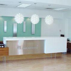 Office Interior: reception desk, in El Paso Texas. Designed by Ameen Ayoub Design Studio Inc