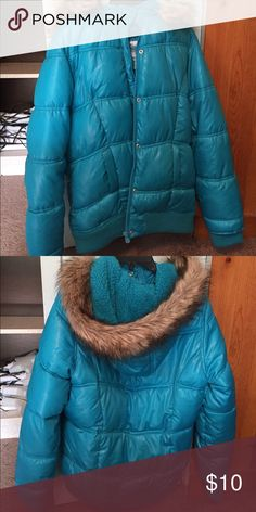 Girls winter jacket Blue winter jacket with faux fur trim on hood Justice Jackets & Coats Puffers