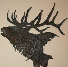 Majestic Elk Silhouette recycled steel Elk head Custom metal Elk wall art Moose Silhouette, Animal Silhouette, Metal Tree Wall Art, Metal Artwork, Elk Tattoo, Elk Head, Antler Art, Custom Metal, Pyrography