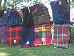 Vintage Amana Woolen Mills Wool Plaids Solids Fabric Samples Bundles for wool quilts or felting
