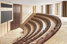 Together with Lundgaard & Tranberg Architects, Engelbrechts has developed an auditorium chair for the auditorium in Axel Towers. See the auditorium chair! Auditorium Architecture, Auditorium Design, Interior Architecture, Medical Office Design, Office Interior Design, Office Interiors, Chair Design, Furniture Design, Plywood Furniture