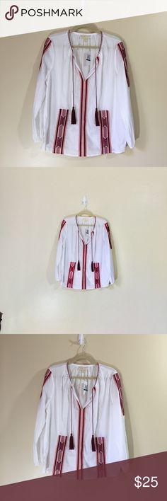Michael Kors Peasant Top NWT Large Michael Kors Peasant Top NWT Large white with Orange Trim Michael Kors Tops