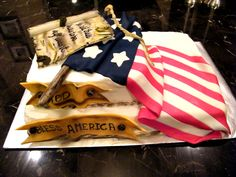 God Bless America This was my first attempt at draping fondant over butter cream.this is an almond buttercream frosting with marble cake. Patriotic Desserts, Holiday Desserts, Military Cake, 4th Of July Cake, July 4th, Fab Cakes, Chocolate Ganache Filling, Striped Cake, Cake Icing