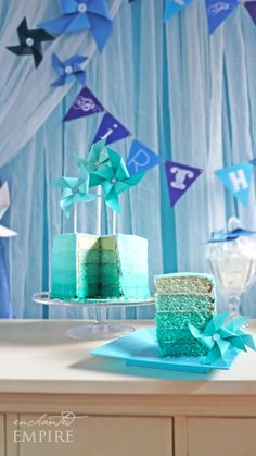 Pretty Teal Ombre Cake using Americolor Turquoise coloring.
