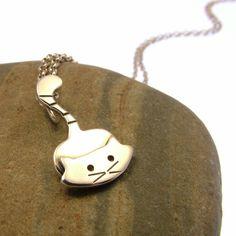 Sterling Silver Cat Necklace - Cat Jewellery - Kitty Necklace by JewelleryFurKeeps on Etsy