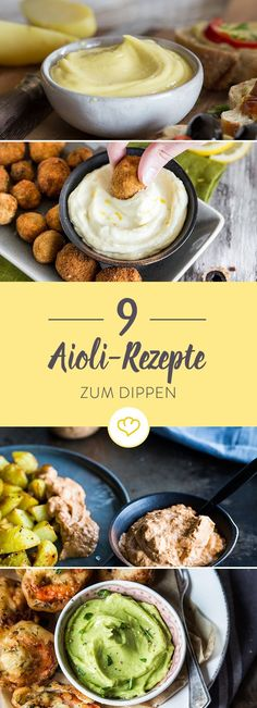 Zum Dippen verführt: 9 cremige Aioli-Rezepte This recipe collection goes to all aioli lovers and to all lovers who are not afraid of a garlic cloud. Here are 9 delicious recipe ideas. Dip Recipes, Sauce Recipes, Pork Recipes, Dinner Recipes, Cooking Recipes, Healthy Recipes, Paleo Dinner, Pasta Recipes, Aioli Sauce