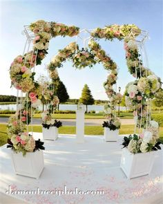 Lee James Floral, White Rose, Pink Rose, Wedding Chuppah, Outdoor Wedding, Wedding, Ceremony Aisle Design, Damontucci Photography