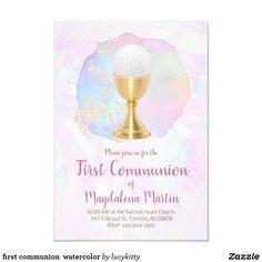 first communion  watercolor invitation