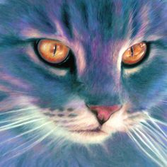 Lilac Cat Giclee Print ... Beautiful Gold Eye Kitty - Feline Painting by Ragen