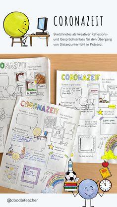 Sketchnotes als kreativer Reflexions- und Gesprächsanlass für den Übergang von Distanzunterricht in Präsenz.  Ermöglicht einen gelenkteren aber kreativen Zugang und Vorbereitung des Wiederankommens. Homeschooling, Bullet Journal, Corona, Beginning Of School, Entering School, Teaching Materials, School, Homeschool