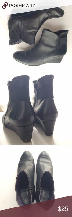 Nice black leather Van Eli wedge ankle boots Nice Van Eli ankle boots size 8.5 beautiful minimalist design, black leather. Worn a handful of times so in great condition, but do show some normal wear on bottoms, at toes and at heels (see pics), but all appear fixable with either a wet cloth or shoe polish (aside from the slight creases in leather shown by toes as most shoes get after the first couple times they're worn). Vaneli Shoes Ankle Boots & Booties