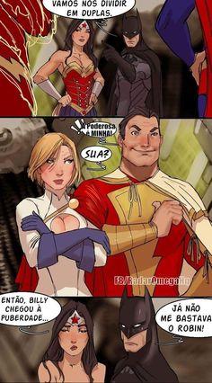 Batman, Wonder Woman, Shazam, and Power Girl Captain Marvel Shazam, Shazam Comic, Comic Book Characters, Comic Character, Comic Books Art, Fictional Characters, Marvel Girls, Univers Dc, Online Comics