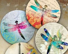 Printable Digital Collage Sheet MAGIC TOUCH inch size circle images for Pocket Mirrors cupcake toppers Magnets Paper Weights by ArtCult Cd Crafts, Arts And Crafts Projects, Paper Crafts, Printable Images, Dragonfly Art, Dragonfly Photos, Cd Art, Art File, Collage Sheet
