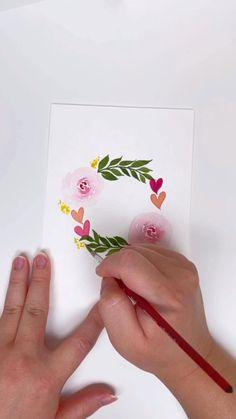 Watercolor Paintings For Beginners, Watercolor Video, Watercolor Techniques, Watercolor Cards, Watercolor Illustration, Watercolor Art Lessons, Watercolour, Watercolor Flowers Tutorial, Floral Wreath Watercolor